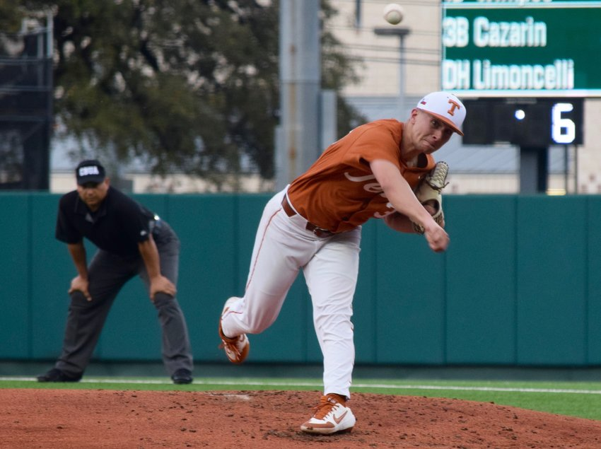 Kolby Kubichek went four innings, giving up one hit and striking out two to win his second game of the season as texas beat Abilene  Christian on Wednesday night.
