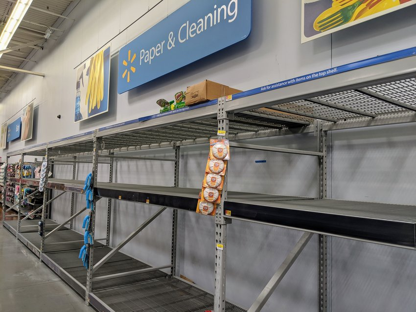 Paper and cleaning products were almost non-existent at Wal-Mart on Saturday.