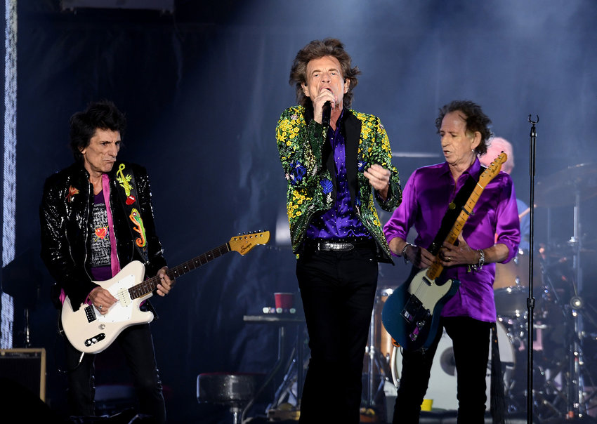 Ronnie Wood, left, Mick Jagger and Keith Richards of The Rolling Stones perform onstage at Rose Bowl on August 22, 2019 in Pasadena, CA. (Kevin Winter/Getty Images/TNS)