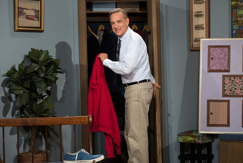 Tom Hanks, as Mr. Rogers, in ''A Beautiful Day in the Neighborhood.'' (Sony Pictures/TNS)