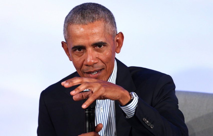 Former President Barack Obama speaks at the Kaplan Institute at the Illinois Institute of Technology in Chicago on October 29, 2019. (Terrence Antonio James/Chicago Tribune/TNS)