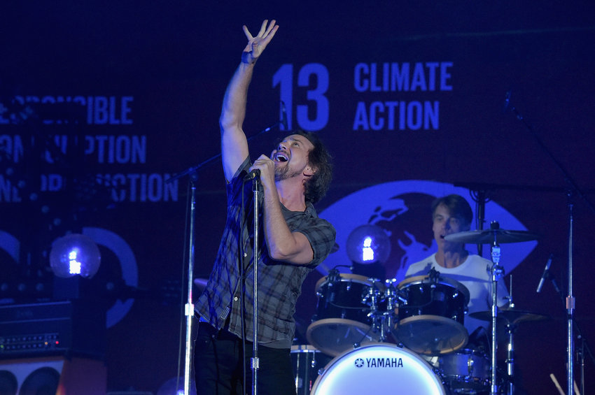 Musician Eddie Vedder of Pearl Jam performs on stage at the 2015 Global Citizen Festival to end extreme poverty by 2030 in Central Park on Sept. 26, 2015 in New York City.  (Theo Wargo/Getty Images for Global Citizen/TNS)