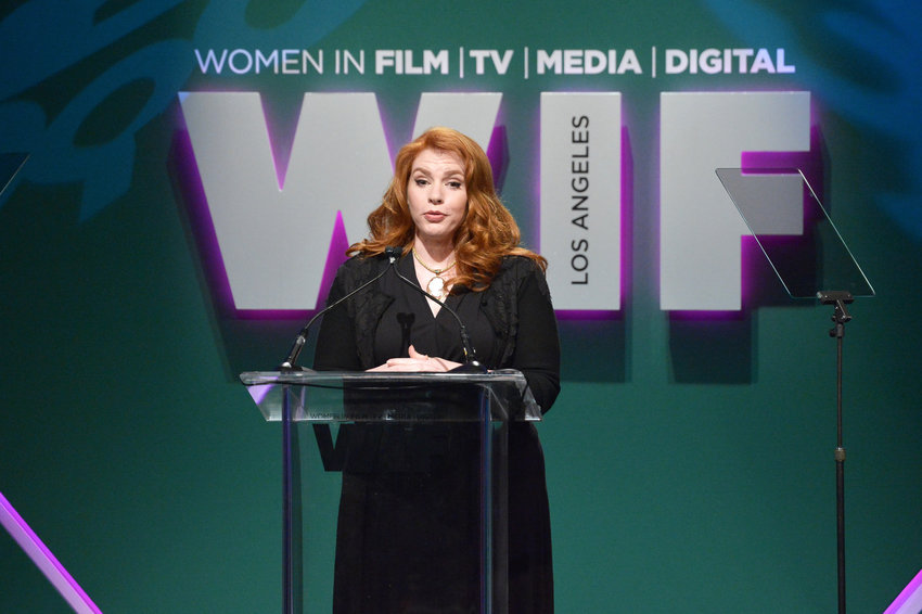 Writer Stephenie Meyer speaks onstage during the Women In Film 2015 Crystal + Lucy Awards Presented by Max Mara, BMW of North America, and Tiffany & Co. at the Hyatt Regency Century Plaza on June 16, 2015 in Century City, California.  (Charley Gallay/Getty Images for Women In Film/TNS)