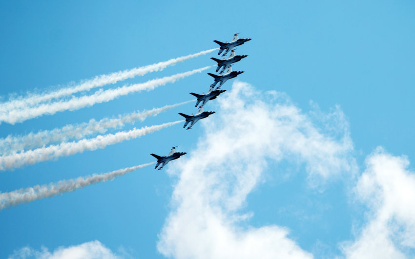 The United States Air Force Thunderbirds fly in formation over Cedar Park, Texas to salute Texas' frontline COVID-19 responders on May 13, 2020.