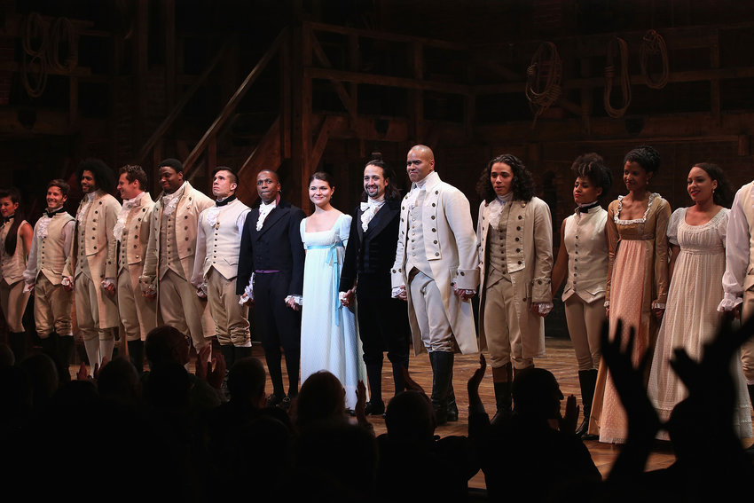 In this file photo, The cast of Hamilton performs the show's Broadway Opening Night at Richard Rodgers Theatre on Aug. 6, 2015 in New York City.