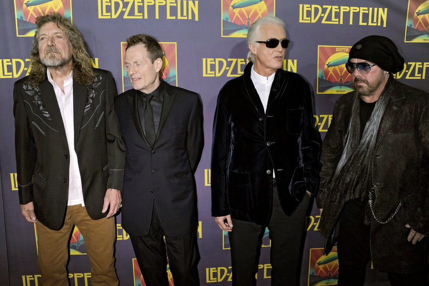 "Robert Plant, John Paul Jones, Jimmy Page and Jason Bonham attend the ""Led Zeppelin: Celebration Day"" premiere at the Ziegfeld Theater on Oct. 9, 2012 in New York City. (Dennis Van Tine/Future-Image/Zuma Press/TNS)"
