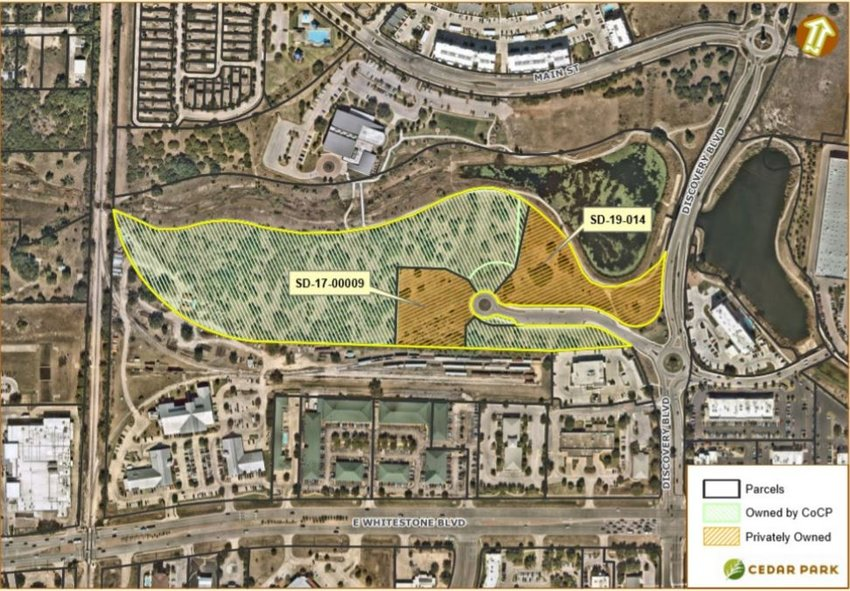 The map outlines in yellow the proposed portion of the Cedar Park Town Center that the City of Cedar Park will consider selling to the city's Economic Development (Type A) Sales Tax Corporation for economic development. The portion filled with orange is already occupied by other businesses or developments.