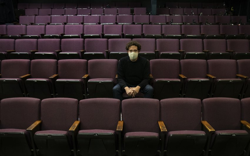 David Kurs, leader of Deaf West Theatre, sits in the empty Odyssey Theater since the coronavirus pandemic has canceled all the shows on May 21, 2020 in Los Aneles, Ca. (Gina Ferazzi/Los Angeles Times/TNS)
