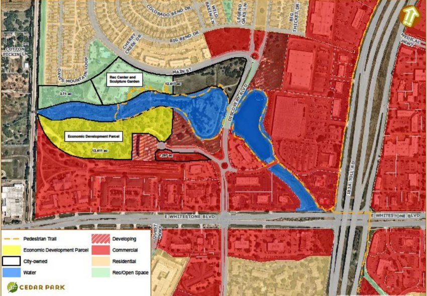 The proposed 13-acre tract in the Cedar Park Town Cetner (highlighted in yellow) would be used for attracting potential employers.