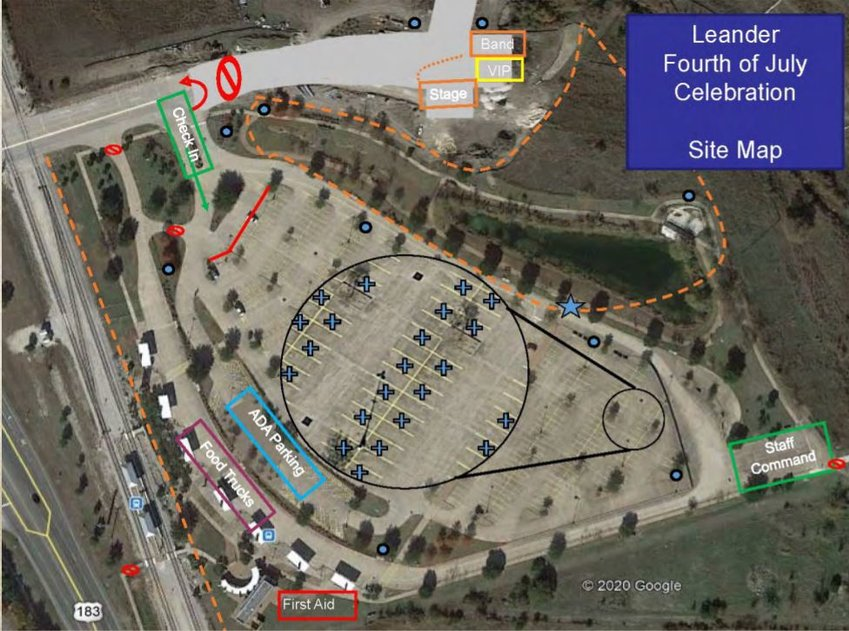 """The City of Leander's graphics shows how vehicles will be spaced in the parking lot for Cap Metro's Leander station for the """"Leander 4th of July Celebration"""" event."""