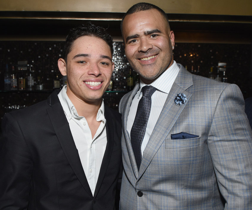 Anthony Ramos and Christopher Jackson attend The Eugene O'Neill Theater Center's 18th Annual Monte Cristo Award Honoring Lin-Manuel Miranda at Edison Ballroom on April 30, 2018 in New York City. (Jenny Anderson/Getty Images for The Eugene O'Neill Theater Center/TNS)