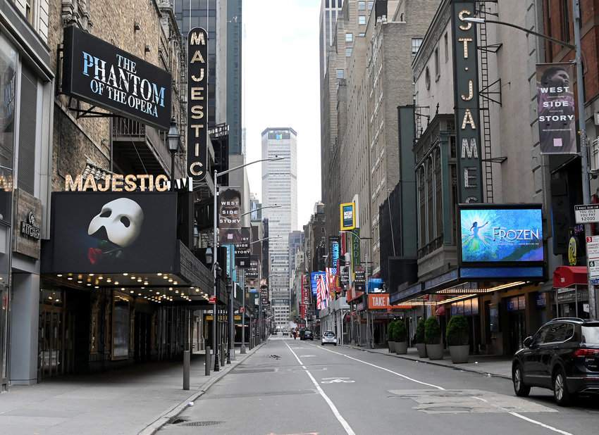 Closed Broadway theaters during the coronavirus pandemic on April 8, 2020 in New York City. The Broadway League announced performances in New York City would remain suspended at least through the end of the year. (Jamie McCarthy/Getty Images/TNS)