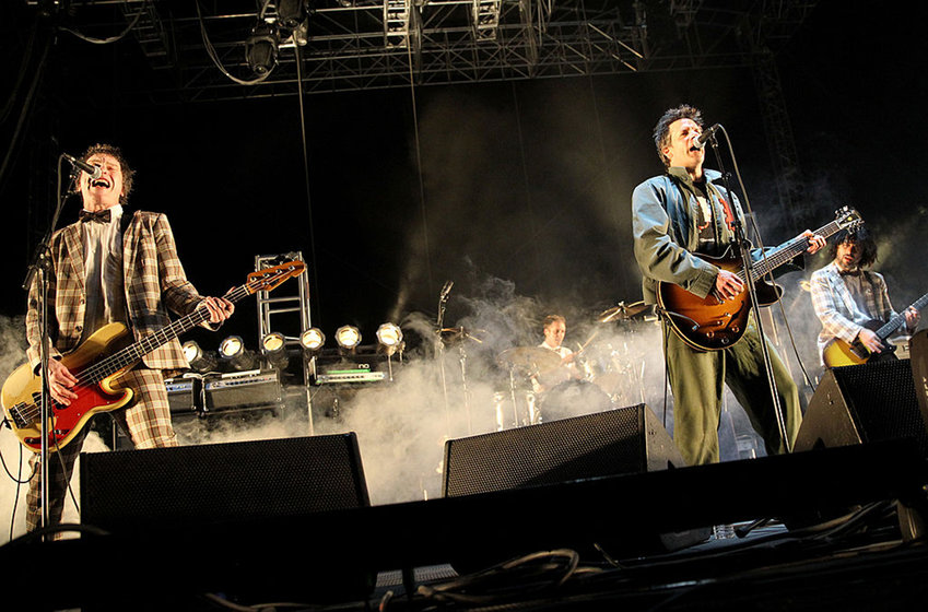 Musicians Tommy Stinson and Paul Westerberg of The Replacements perform onstage during day 1 of the 2014 Coachella Valley Music & Arts Festival at the Empire Polo Club on April 18, 2014 in Indio, California. (Photo by Karl Walter/Getty Images for Coachella/TNS)