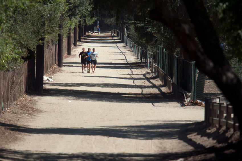 "Friends run on a pathway at Griffith Park in Los Angeles on August 12, 2014. ""Four Months Earlier"" takes us back to the days we could walk Griffith Park with an out-of-towner. (Cheryl A. Guerrero/Los Angeles Times/TNS)"
