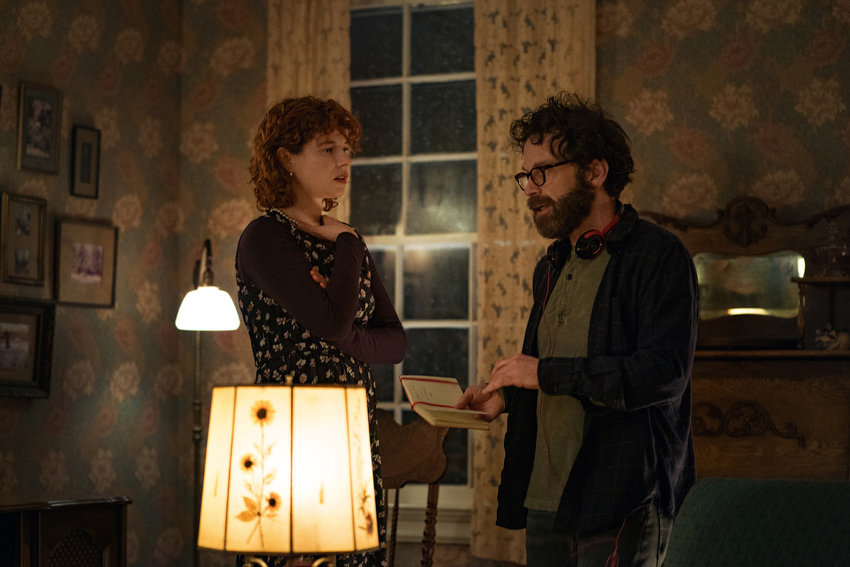 "Jessie Buckley with Charlie Kaufman on the set of ""I'm Thinking Of Ending Things."" (Mary Cybulski/Netflix/TNS)"