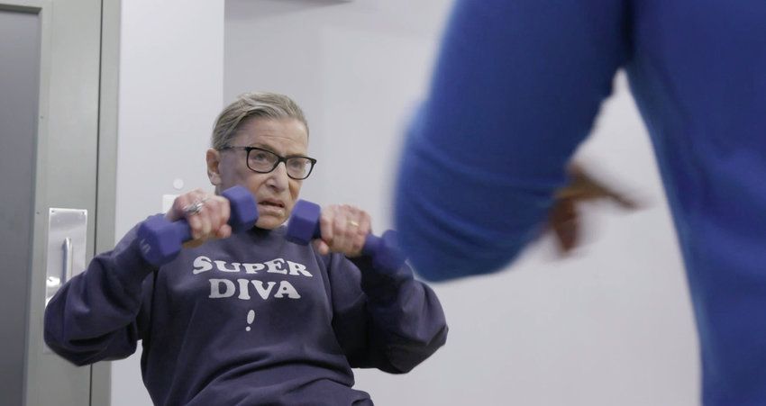 "Justice Ruth Bader Ginsburg mid-workout in ""RBG,"" a Magnolia Pictures movie. (Courtesy Magnolia Pictures/CNN Films/TNS)"