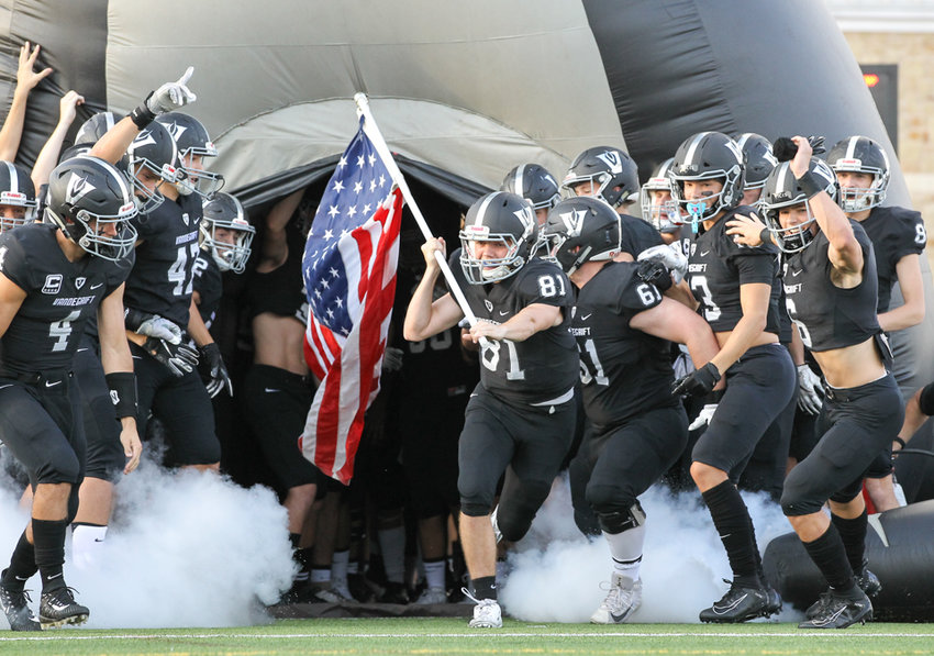during a high school football game between Vandegrift and Cedar Park at Monroe Stadium in Austin, Texas on August 30, 2019.