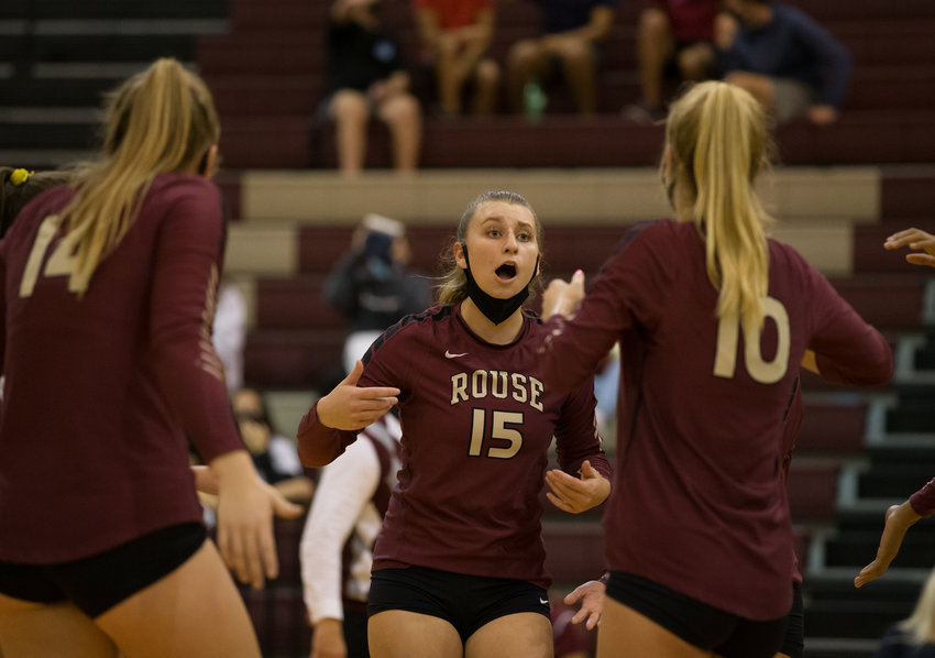 Rouse Raiders senior outside hitter Emery Reid (15)  during a high school volleyball game between the Rouse Raiders and the Midway Panthers at Rouse High School in Leander, Texas, on Tuesday, September 22, 2020.