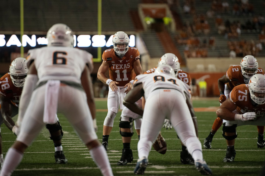 Through three games, Sam Ehlinger has thrown for 924 yards — the second-best mark in the country — and 14 touchdowns.