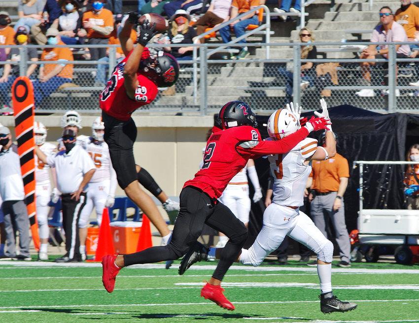 Vista Ridge Rangers defensive back Jonathan Clark (23) intercepts a long pass against the Westwood Warriors at Gupton Stadium, Cedar Park, Texas on October 31, 2020