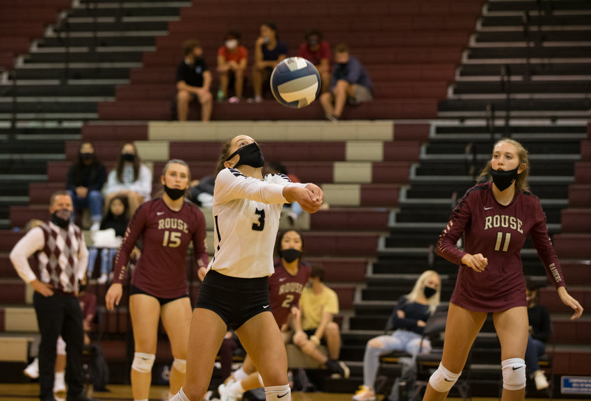 Rouse Raiders junior libero Megan Schulz (3) during a high school volleyball game between the Rouse Raiders and the Midway Panthers at Rouse High School in Leander, Texas, on Tuesday, September 22, 2020.