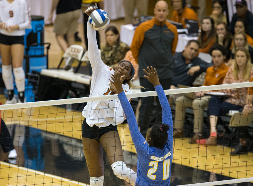 Texas Longhorns middle blocker BRIONNE BUTLER (10) during an NCAA volleyball tournament second-round match between Texas and UC Santa Barbara at Gregory Gymnasium in Austin, Texas, on Dec. 6, 2019. Texas came back from a 2-1 deficit to win the match 3-2.