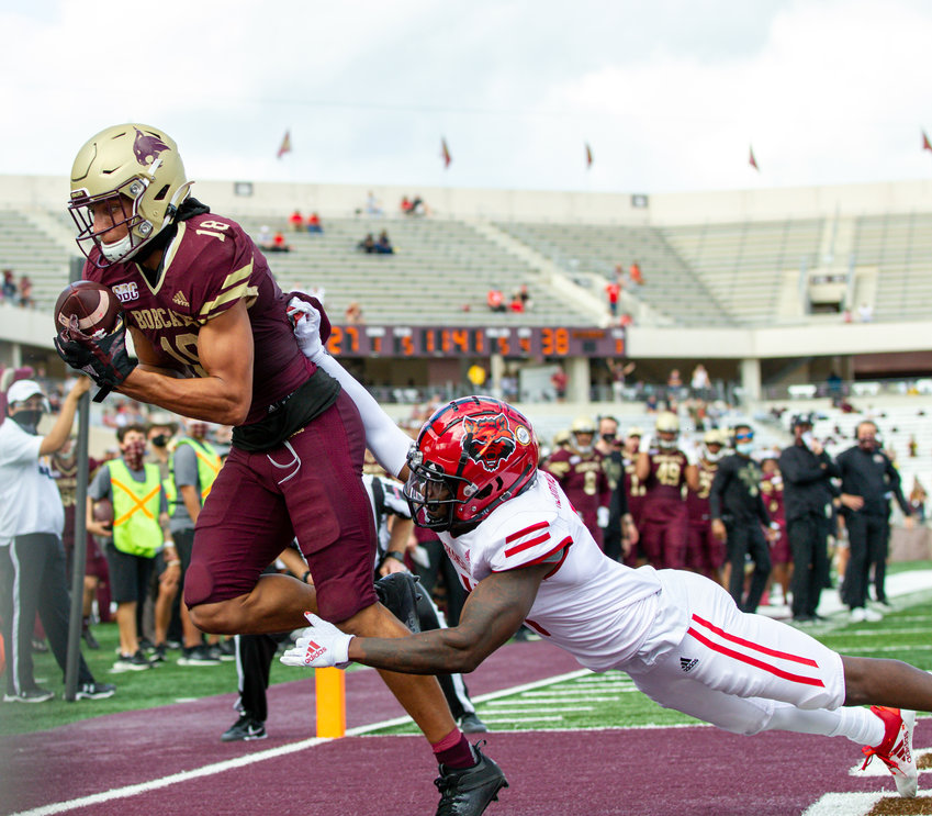 Texas State Bobcats wide receiver Marcell Barbee (18) brings in a touchdown pass during an NCAA football game between Texas State and Arkansas State on November 21, 2020, at Bobcat Stadium in San Marcos, Texas.