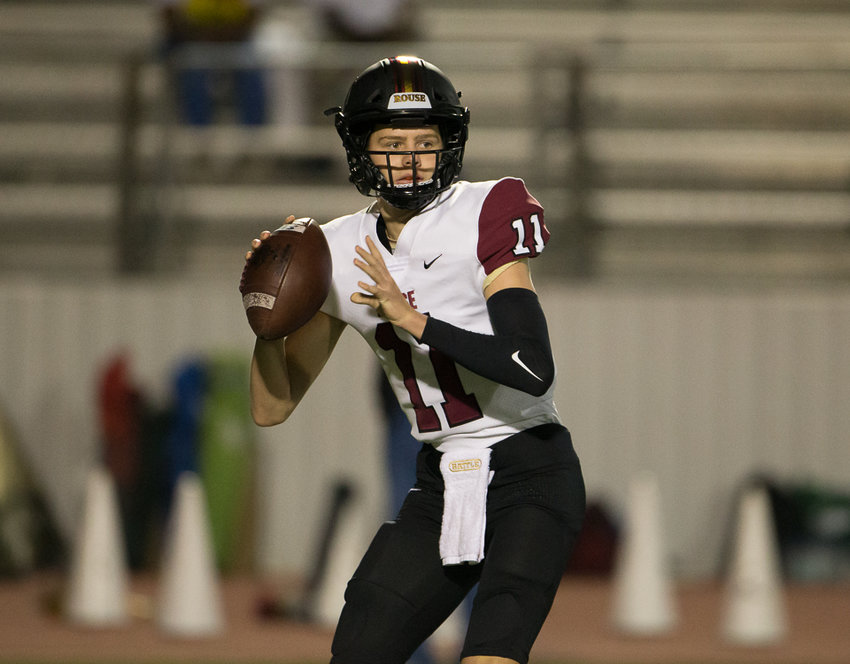 Rouse Raiders sophomore quarterback Mason Shorb (11) looks to pass during a high school football game between Brenham and Rouse at Cub Stadium on Friday, November 6, 2020.