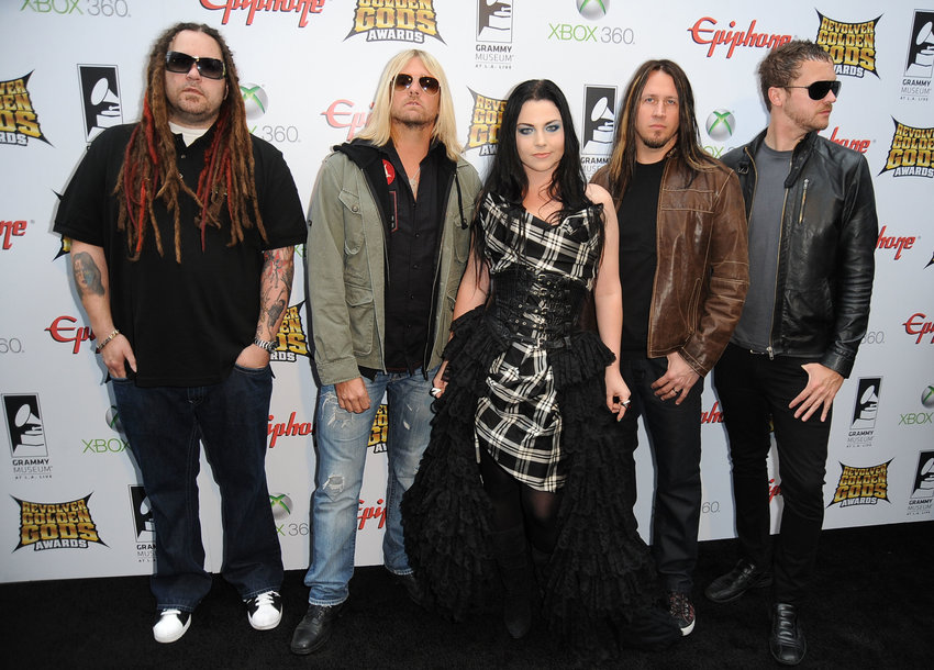 """Evanescence arrives at the 2012 Revolver Golden Gods Award Show at Club Nokia on April 11, 2012 in Los Angeles. This year Evanescence will release """"The Bitter Truth,"""" its first album of new material since 2011.  (Frazer Harrison/Getty Images/TNS)"""