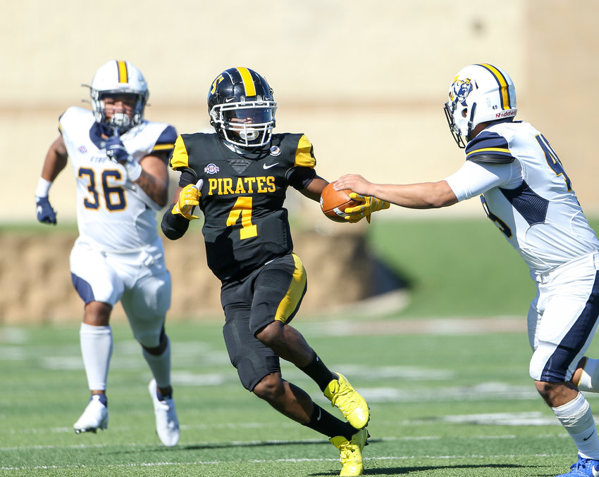 Southwestern University Pirates wide receiver Elijah Norris (4) carries the ball during a college football game between Southwestern University and East Texas Baptist University on February 6, 2021 in Georgetown, Texas.