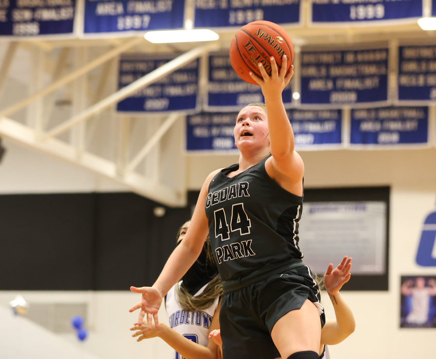 Cedar Park Timberwolves junior center Shelby Hayes (44) shoots the ball during a high school girls basketball game between Georgetown and Cedar Park on January 30, 2021 in Georgetown, Texas.