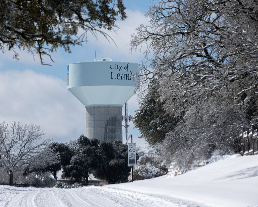Record-setting snowfall and a covering of ice blankets Cedar Park and Leander, Texas, on February 15, 2021.