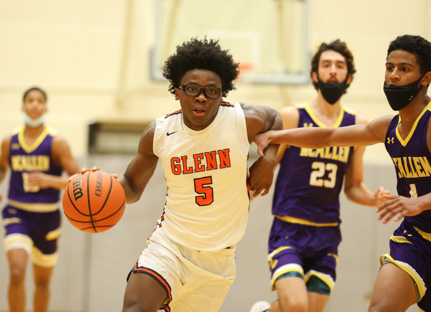 Glenn Grizzlies senior guard Jaylen Thompson (5) drives to the basket during a high school basketball playoff game between Glenn and McAllen on March 5, 2021 in San Antonio, Texas.