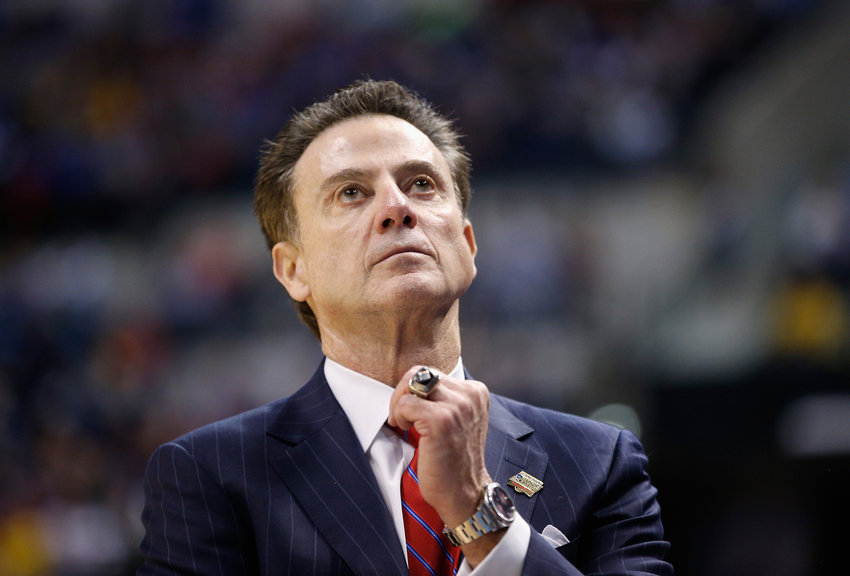 Head coach Rick Pitino of the Louisville Cardinals reacts to their 69-73 loss to the Michigan Wolverines during the second round of the 2017 NCAA Men's Basketball Tournament at the Bankers Life Fieldhouse on March 19, 2017 in Indianapolis, Indiana.  (Joe Robbins/Getty Images/TNS)