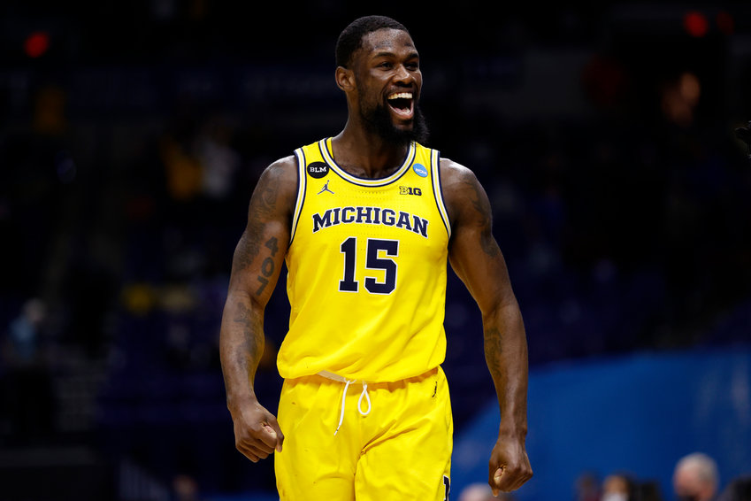 Chaundee Brown #15 of the Michigan Wolverines reacts to beating the LSU Tigers in the second round game of the 2021 NCAA Men's Basketball Tournament at Lucas Oil Stadium on March 22, 2021 in Indianapolis, Indiana. (Jamie Squire/Getty Images/TNS)