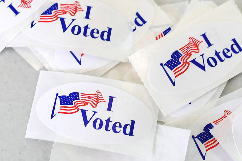 """""""I Voted"""" stickers at a polling station on the campus of the University of California, Irvine, on November 6, 2018, in Irvine, California. (Robyn Beck/AFP/Getty Images/TNS)"""