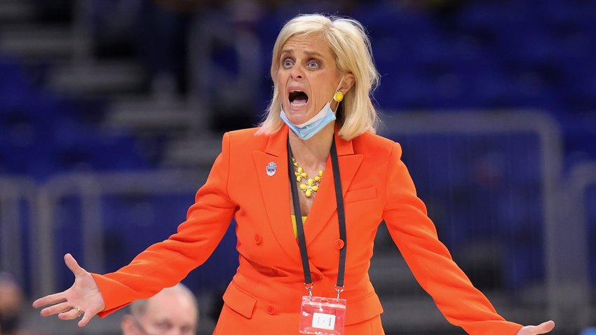 SAN ANTONIO, TEXAS - MARCH 27: Head coach Kim Mulkey of the Baylor Lady Bears reacts during the second half against the Michigan Wolverines in the Sweet Sixteen round of the NCAA Women's Basketball Tournament at the Alamodome on March 27, 2021 in San Antonio, Texas.
