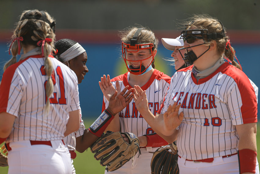 Leander Lions junior catcher Marley Neises (6) during a high school softball game between Leander and Liberty Hill on March 15, 2021 in Leander, Texas.