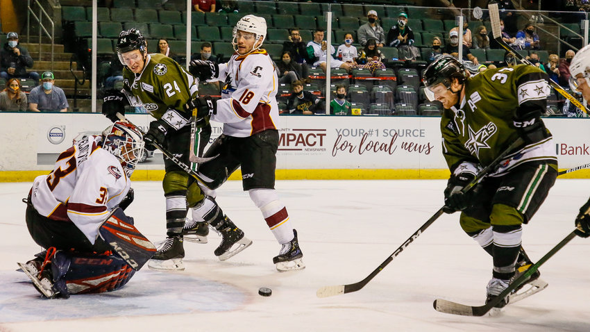 The Texas Stars played the Cleveland Monsters in an American Hockey League game on Sunday, May 2, 2021 at the H-E-B Center in Cedar Park, Texas.  Cleveland defeated Texas in overtime by a final score of 3-2.  (Andy Nietupski / Texas Stars)