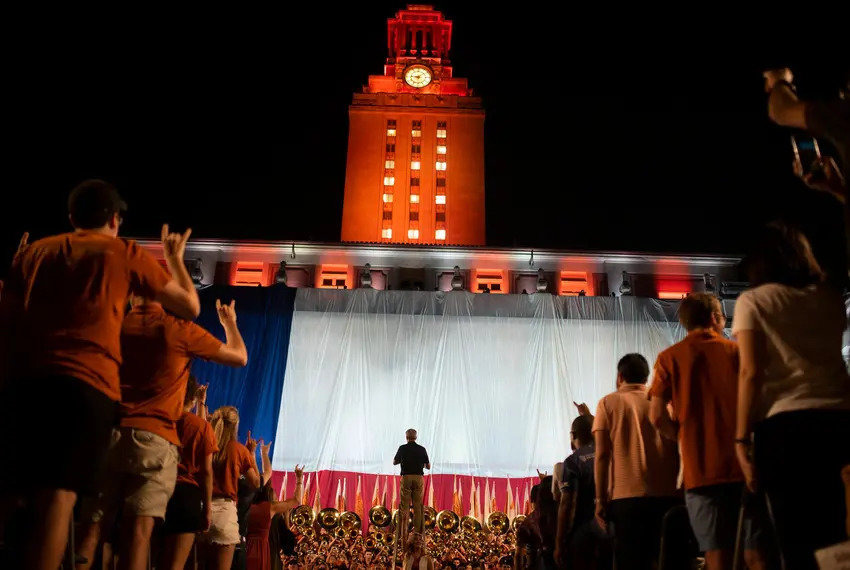 """Student tour guides at UT-Austin are going on strike this week over a debate about whether to remove a plaque in the Admissions Welcome Center with """"The Eyes of Texas"""" lyrics on it."""