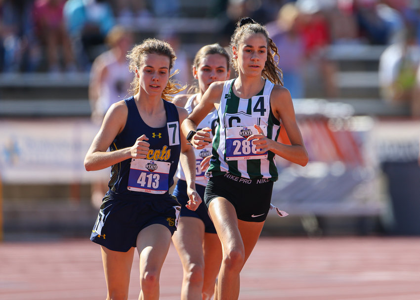 Cedar Park High School freshman Isabel Conde de Frankenberg runs in the Class 5A 3200 meter run at the UIL State Track and Field Meet on May 7, 2021 at Mike A. Myers Stadium in Austin, Texas. De Frankenberg won gold in the event.