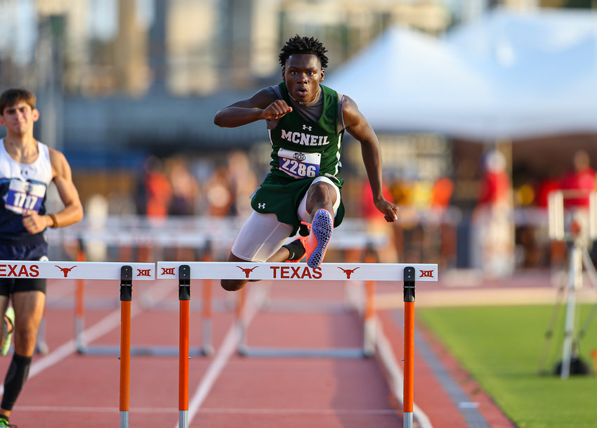 during the UIL State Track and Field Meet on May 7, 2021 at Mike A. Myers Stadium in Austin, Texas.