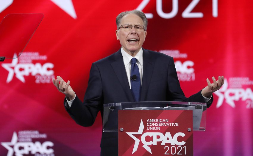 Wayne LaPierre, executive vice president of the National Rifle Association, speaks during CPAC at the Hyatt Regency in Orlando, Fla., on Feb. 28, 2021. (Stephen M. Dowell/Orlando Sentinel/TNS)
