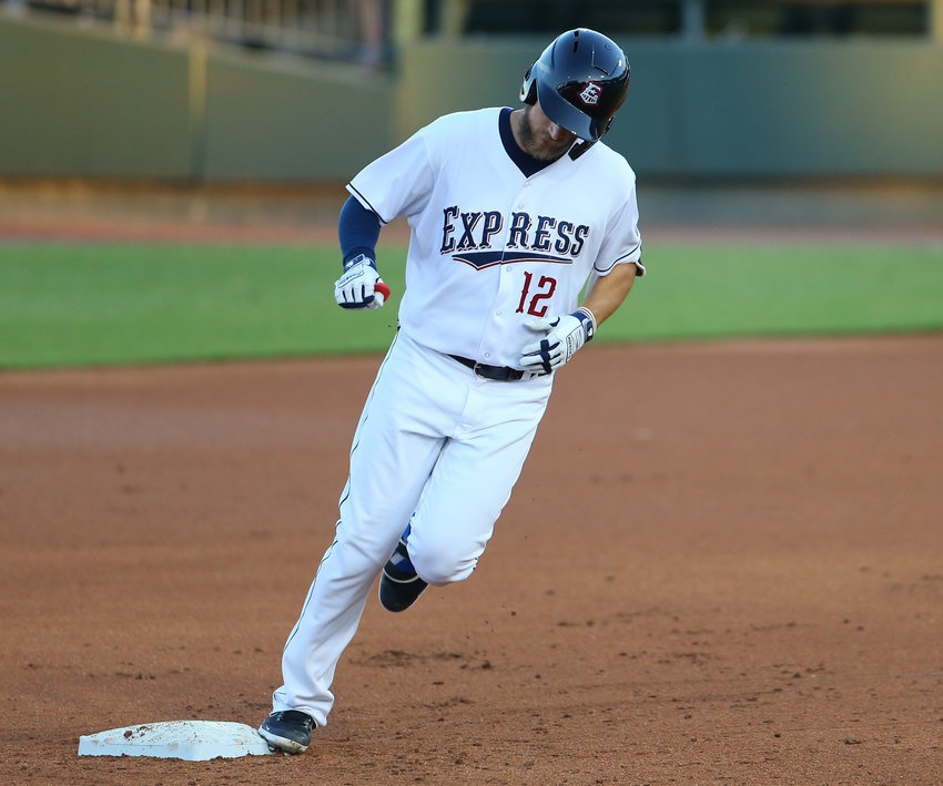 Round Rock Express third baseman Charles Leblanc (12) rounds the bases after hitting a home run during a Minor League Baseball game between the Round Rock Express and the Oklahoma City Dodgers on Opening Day, May 6, 2021 in Round Rock, Texas. Round Rock won, 6-0.