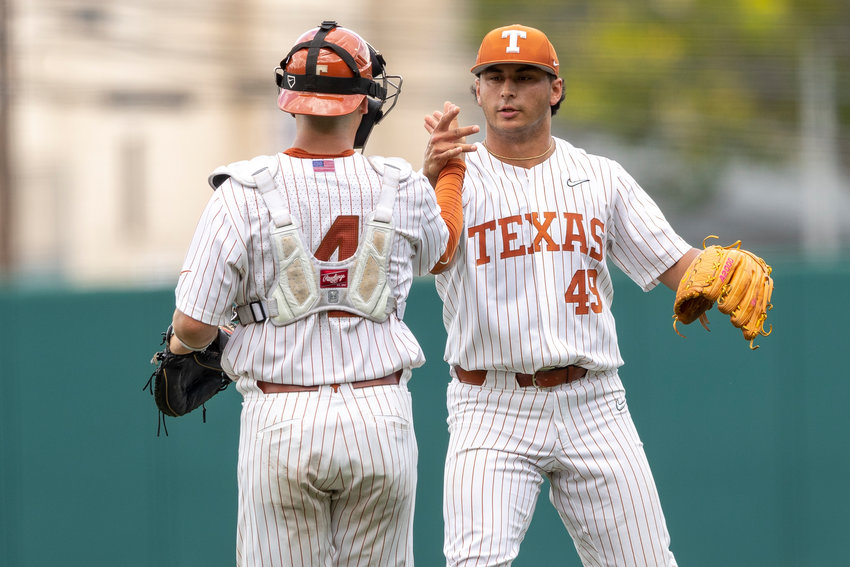 Jared Southard, right, has made 15 appearances in his Texas career and pitched 12.1 innings, allowing two runs on five hits with 22 strikeouts.