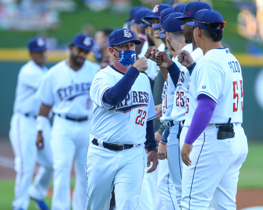 Round Rock Express manager Kenny Holmberg is introduced along with the players before the start of a Minor League Baseball game against the Oklahoma City Dodgers on Opening Day, May 6, 2021 in Round Rock, Texas. Round Rock won, 6-0.