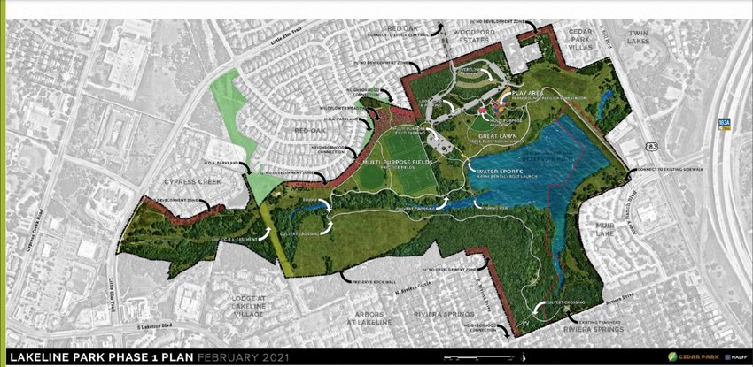 Phase 1 map for the Lakeline Park project