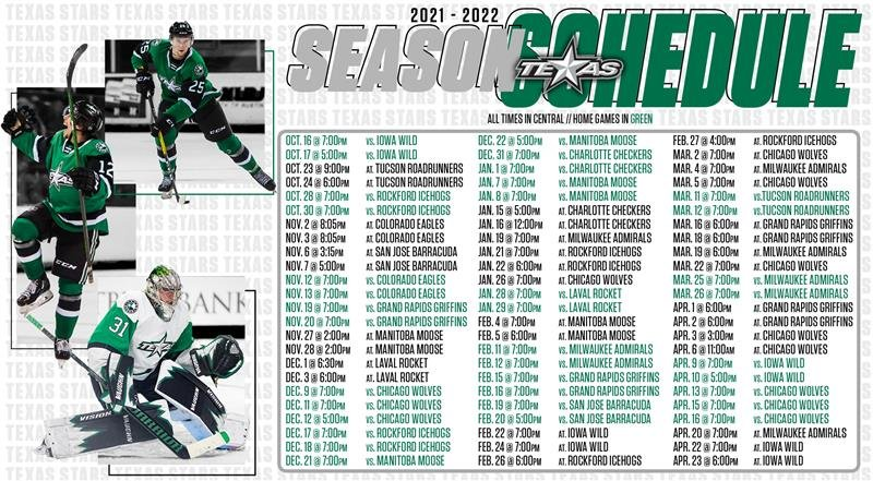 The 2021-22 schedule the Texas Stars. This will be the 13th season for the AHL team at the HEB Center.