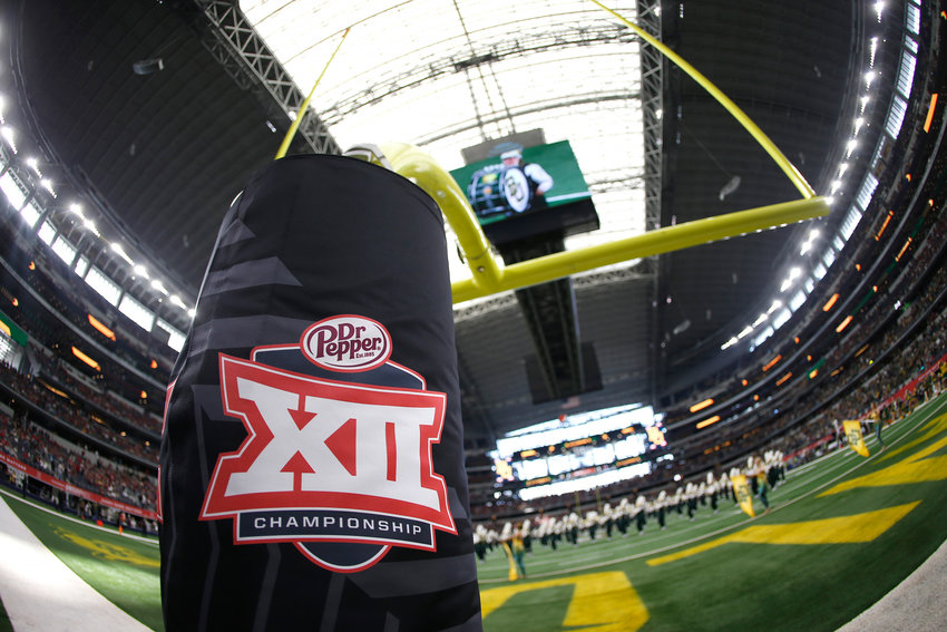 Detail view of Big 12 logo as the Baylor band plays on the field before the Bears play host to Oklahoma in the Big 12 Championship at AT&T Stadium in Arlington, Texas, on December 7, 2019. (Ron Jenkins/Getty Images/TNS)