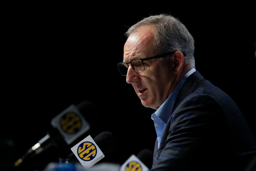 In this file photo, Greg Sankey, Commissioner of the SEC, addresses the media following the announcement of the cancellation of the SEC Basketball Tournament at Bridgestone Arena on March 12, 2020, in Nashville, Tennessee. Sankey said nearly half of SEC football teams have reached at least an 80% vaccination threshold. (Andy Lyons/Getty Images/TNS)